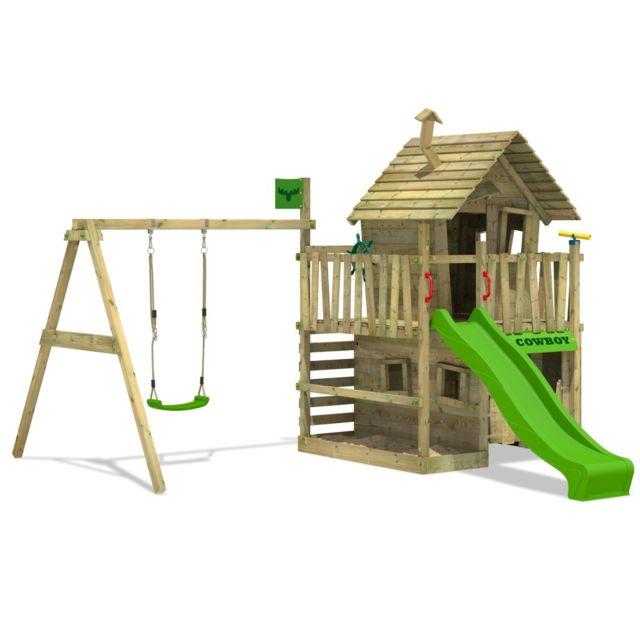 FATMOOSE Portique de jeux en bois CountryCow Maxi XXL Aire de jeux Cabane avec balançoire et toboggan