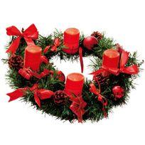 Xmas Living Glass - Wreath - Couronne Sapin Bougie et Ruban Rouge Led Ø40cm - Guirlande et objet lumineux designé par