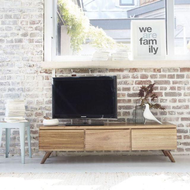 Bois Dessus Bois Dessous Meuble Tv en bois de mindy 3 tiroirs abattants