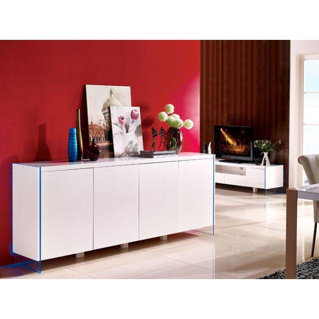HABITAT ET JARDIN Buffet LED Fiona - 201 x 40 x 86 cm - Blanc laqué