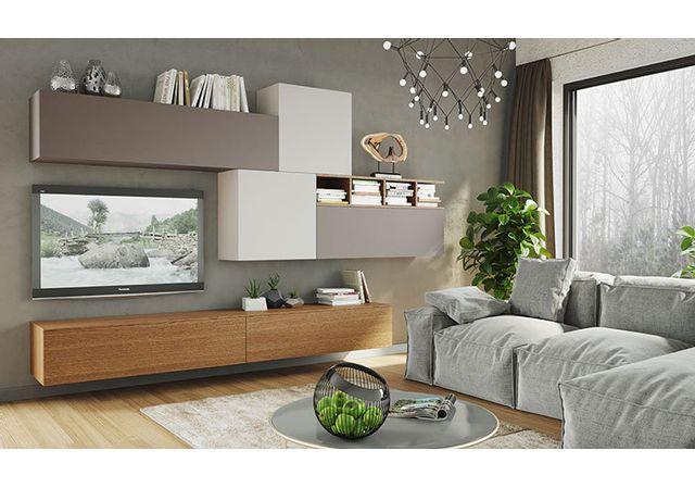 House and Garden - Ensemble De Meubles Salon Tv LaquÉ & Bois Naturel ...