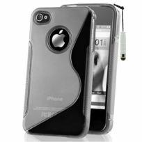Vcomp - Housse Etui Coque souple silicone gel motif S-line pour Apple iPhone 4/ 4S/ 4G + mini stylet - Transparent