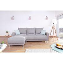 Canapé design d'angle Réversible Minty en tissu gris clair