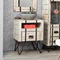 Wanda Collection   Meuble De Salle De Bain En Mindi 60 Cm Loft Blanc