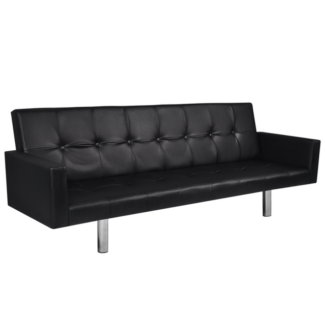 Rocambolesk Superbe Canapé lit en cuir artificiel noir avec accoudoirs neuf