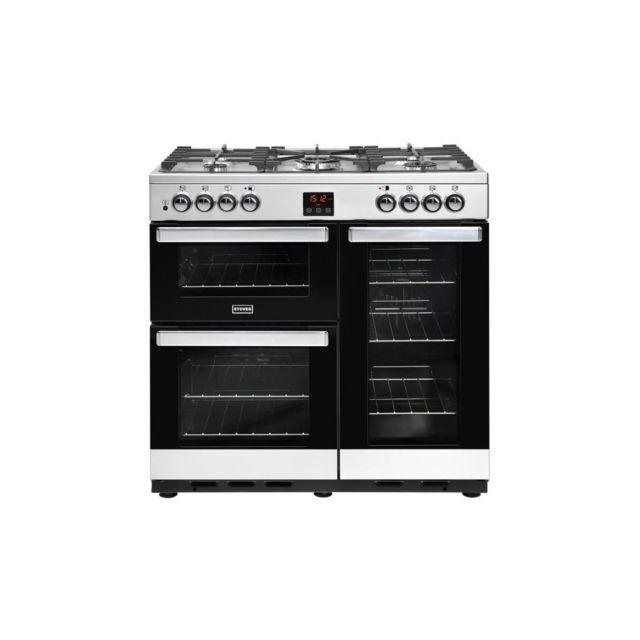 nouveau concept 8c308 e3eae Pcity90DFTSS-Cuisiniere table de cuisson gaz-5 foyers-Four electrique 3  cavites-35L-62L-91L-A-L90 x H92,2 cm-Inox et noir