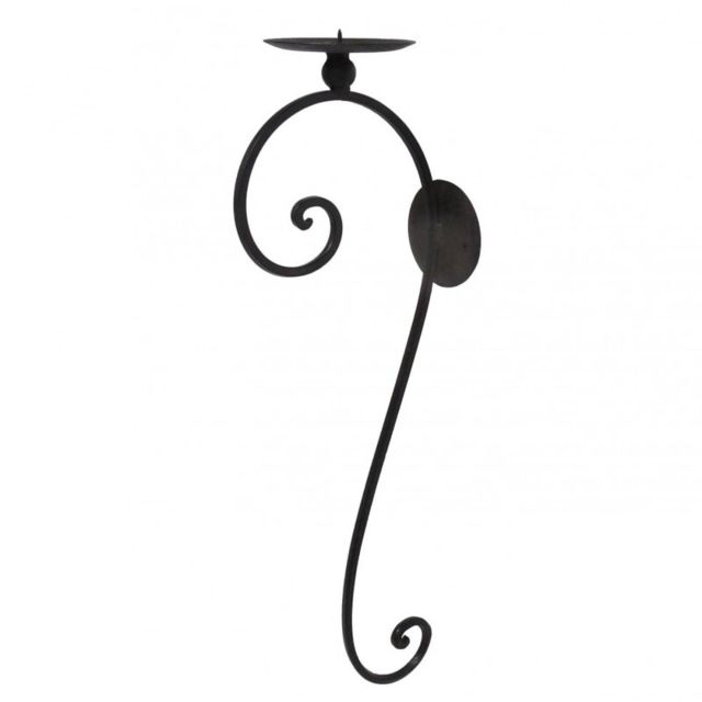 Applique Murale Bougeoir Unique Ou Candelabre 1 Bougie A Fixer En Fer Patine Marron Noir 11x19 5x57 5cm