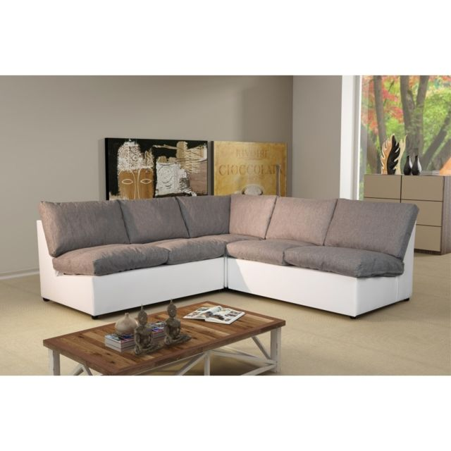 Rocambolesk Canapé d'angle modulable Avanti gris/blanc