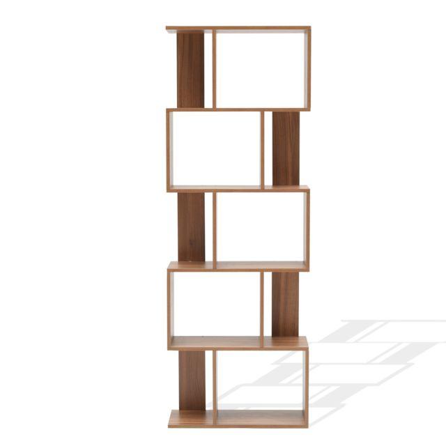 Mobili Rebecca Bibliothèque Etagère 5 Etagères Marron Moderne Bois 172,5x60x24,5
