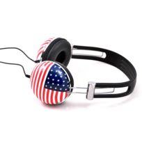 Soundlab - A081B - Casque Stéréo Drapeau Etats-Unis