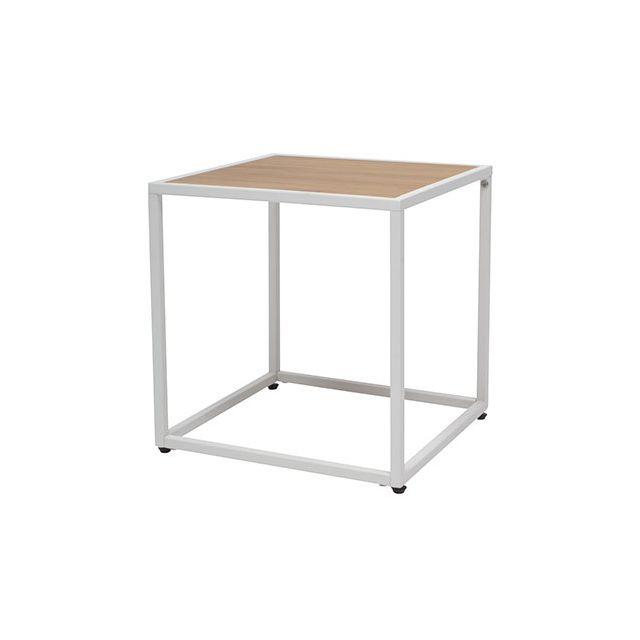 Table basse carrée en pin et métal blanc