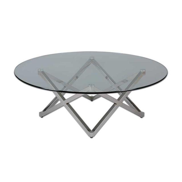 Tousmesmeubles Table basse ronde Verre/pied étoile - Boisso