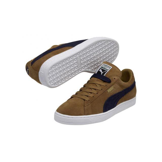 1bb8277441 Puma - Chaussures Suede Bistre Peacoat Classic Basket Marron, Bleu marine,  Blanc - 44 - pas cher Achat / Vente Baskets homme - RueDuCommerce