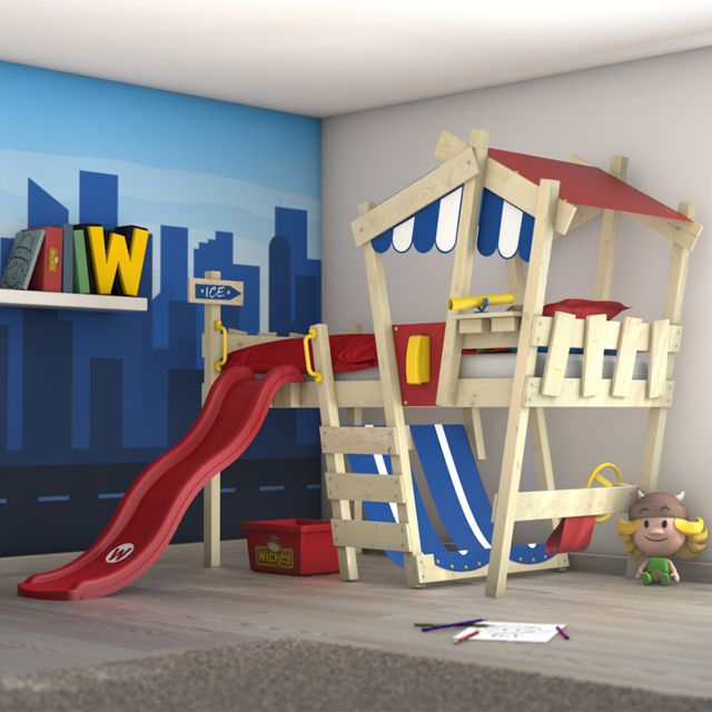 WICKEY lit enfant 'CrAzY Hutty' avec toboggan - Lit mezzanine en plusieurs combinaisons de couleurs - 90x200 cm