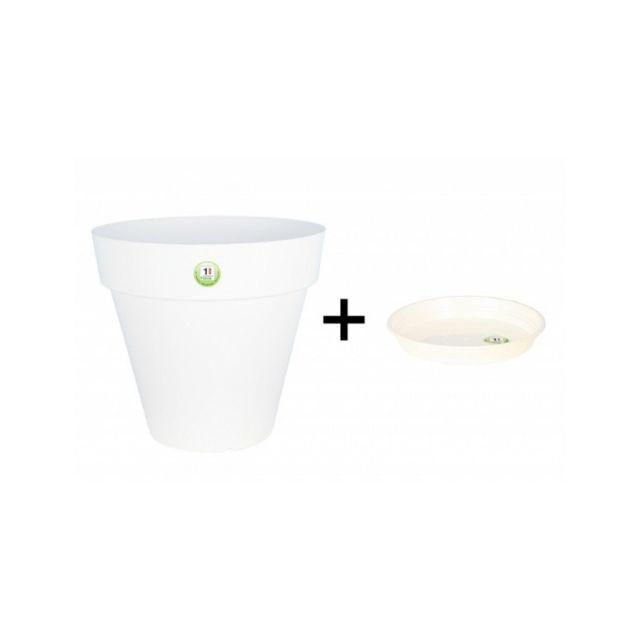 Riviera & Bar Pot et Soucoupe Soleilla diametre 70cm H66cm blanc - Riviera