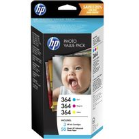 HP - Pack 3 cartouches d'encre N° Photo Pack 364 + 50 feuilles 10x15