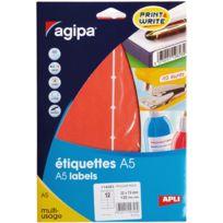 Agipa - 114353 - etiquette adhésive a5 - rouge - format 32x70 mm - etui de 120