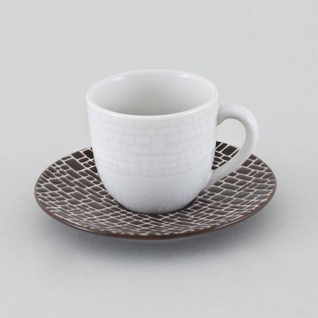 TABLE PASSION TASSE CAFE + SOUCOUPE COTTON LOT DE 6