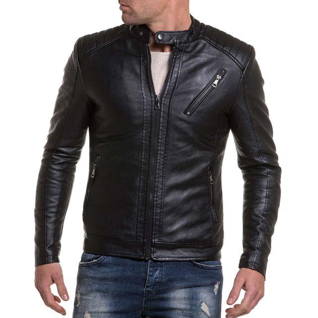 BLZ Jeans - Veste imitation cuir noir avec coutures aux épaules XL ... 058ad717164