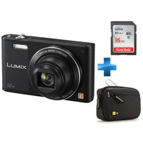 PANASONIC - Pack débutant SZ10 Noir + Carte SD 16GO + Housse case Logic