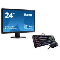 IIYAMA - Ecran 24 VGA DVI HDMI 2ms HP + MasterKeys Lite L Combo RGB