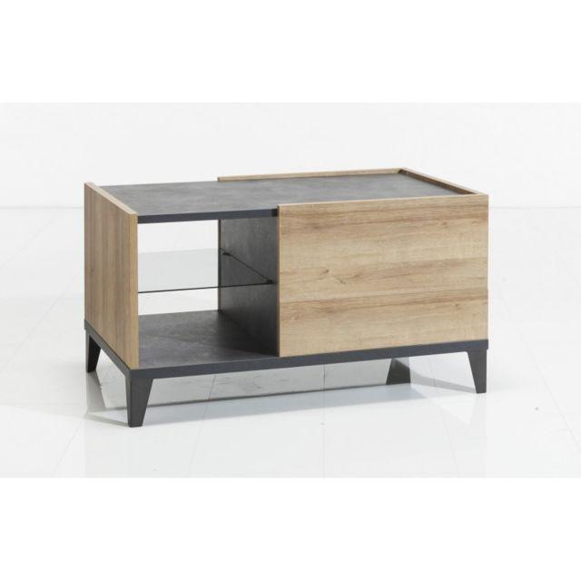 Meubletmoi Table basse rectangulaire avec tiroirs et niches en bois gris et beige - Valentina