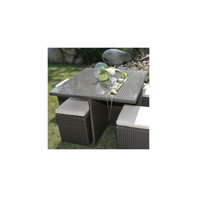 Delamaison - Table carrée 100x100 Valras alu/résine tressée - pas ...