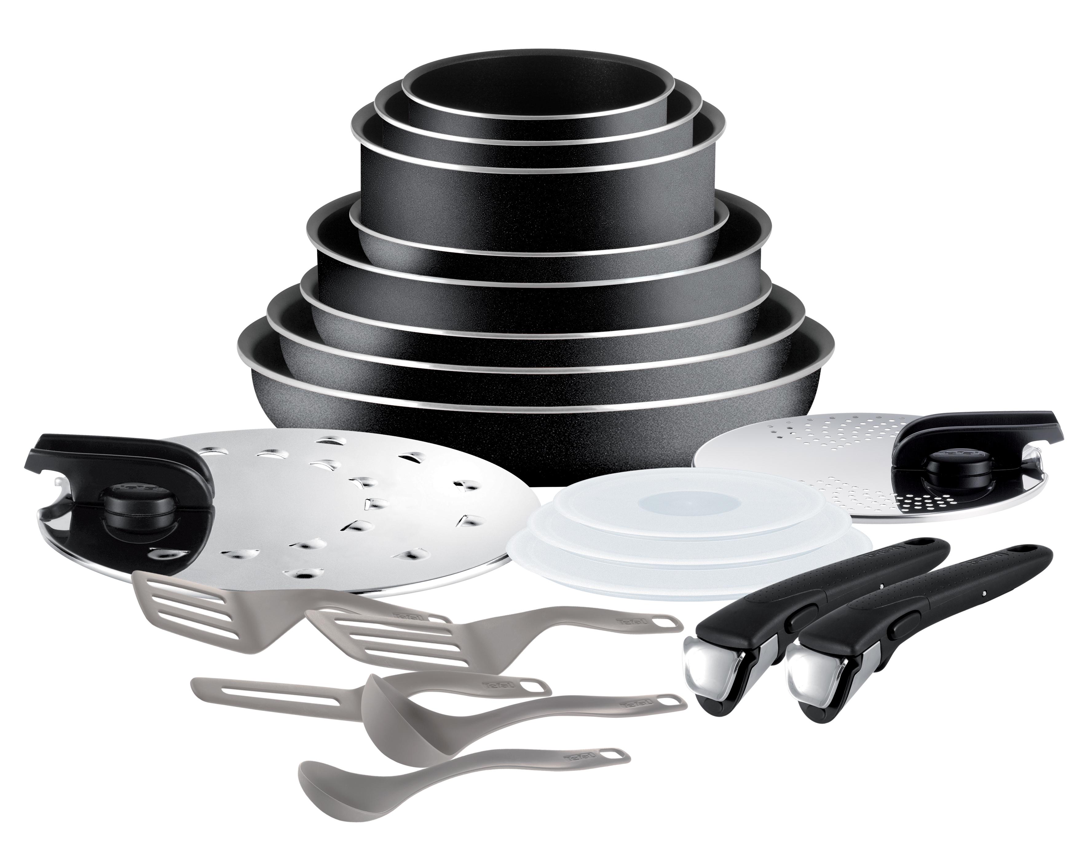 tefal set de po les et casseroles ingenio essential noir 20 pi ces pas cher achat. Black Bedroom Furniture Sets. Home Design Ideas