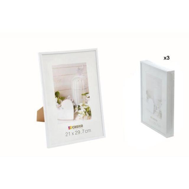 CADRE PHOTO Lot de 3 Cadres Photos - 21x29,7 cm - Format A4 - Plastique et Verre - Blanc