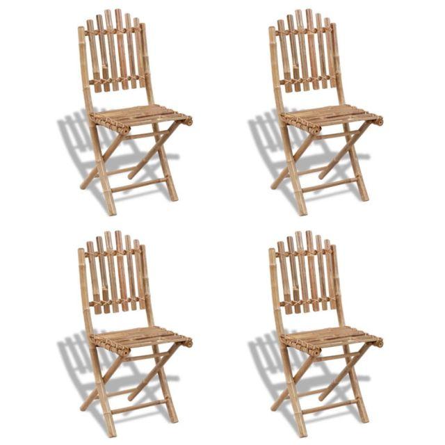 Chaises d'extérieur en bambou Moderne chaises pliables 4 A5RL34qj