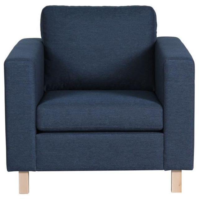 FAUTEUIL Fauteuil SVEN - Tissu bleu - Scandinave - L 92 x P 92 cm