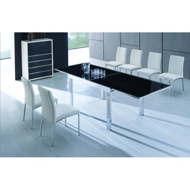 c108477da6d20f ClearSeat - Table en verre extensible noire Manhattan - pas cher ...