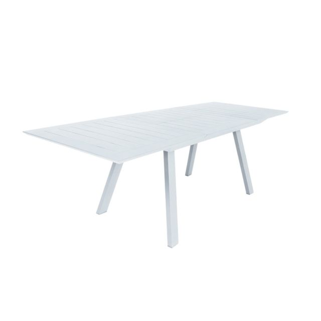 Gecko jardin table extensible en alu blanc 160 240 x 90 cm for Table extensible alu