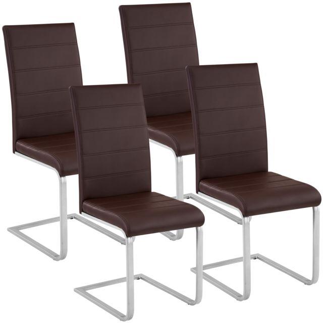 4 Chaises De Salle à Manger Rembourrées Design Moderne Pieds En Métal Marron