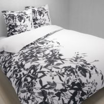 TEX HOME - Parure BLACK FLOWER housse de couette + 2 taies d'oreiller en coton