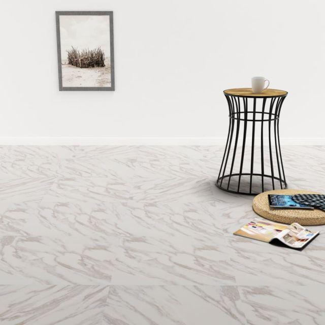 Inedit Matériaux de construction famille Djouba Planche de plancher PVC autoadhésif 5,11 m² Blanc Marbre