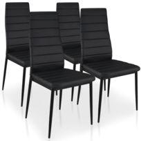 MENZZOPREMIUM - Lot de 4 chaises Stratus Noir