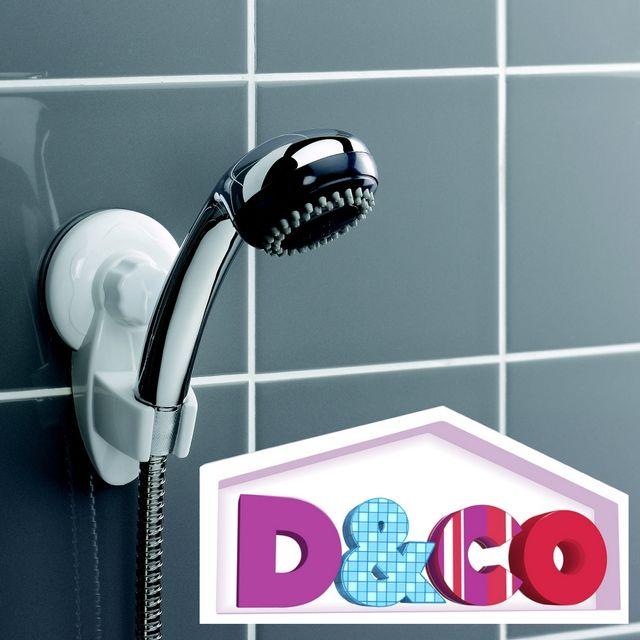 d co accroche pommeau de douche ventouse salle de bain licence pas cher achat vente. Black Bedroom Furniture Sets. Home Design Ideas