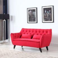 B.H.D - Kristen - Canapé droit fixe 2 places avec coussins - Design moderne scandinave - Tissu - 160x84x82 cm