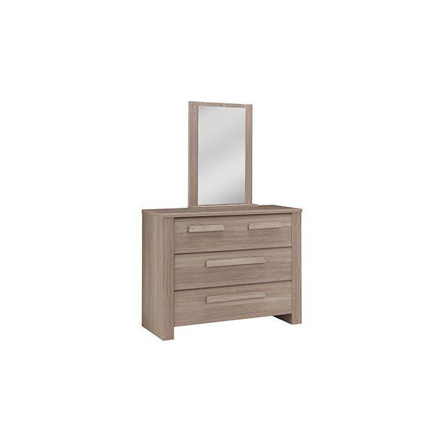 Commode 3 tiroirs + miroir décor chêne - Wintch