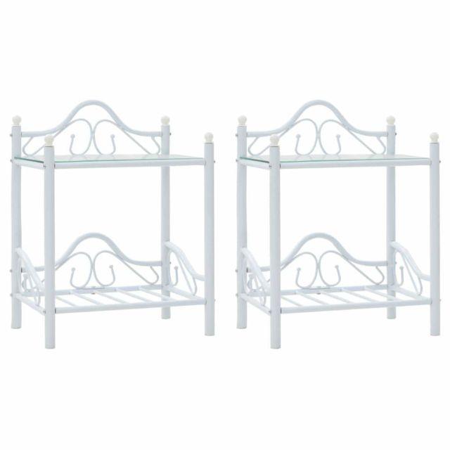 Helloshop26 Table de nuit chevet commode armoire meuble chambre 2 pcs acier et verre trempé 45x30 5x60 cm blanc 1402032