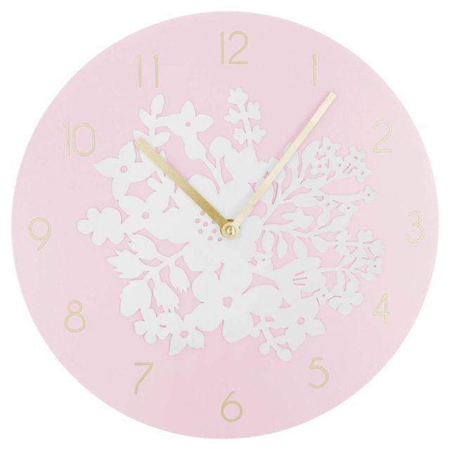 ab3b669c4dd0f5 Les Douces Nuits de Maé - Pendule ronde en bois 3D rose Ø 30 cm ...
