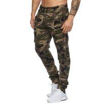 Violento - Jogging slim kaki camouflage cargo