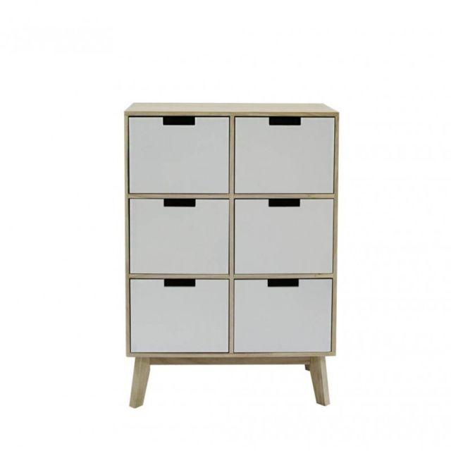 Mobili Rebecca Meuble de Rangement Armoire 6 Tiroirs Bois Blanc Design Moderne