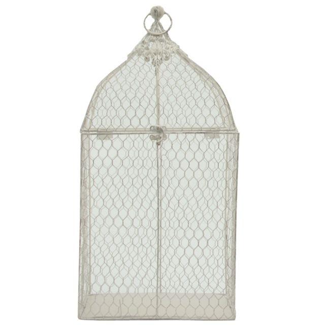 L'ORIGINALE Deco Cage à Oiseaux Grillagée Grillage Décorative Blanc 53 cm