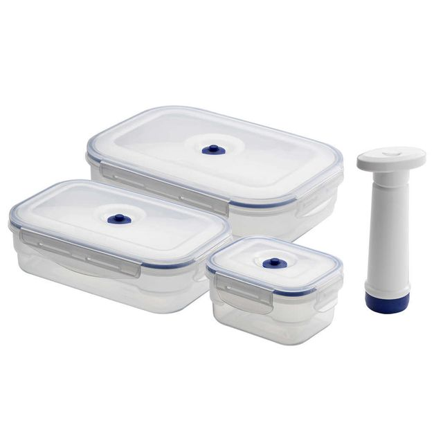 Compactor Lot de 3 boîtes alimentaires + pompe