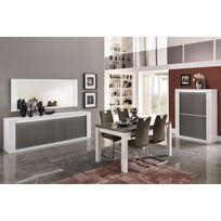 Comforium - Ensemble salle à manger complète coloris blanc et gris laqué brillant