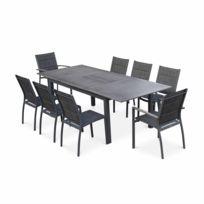 ALICE'S GARDEN - Salon de jardin Chicago 8 places table à rallonge extensible 175/245cm alu gris foncé textilène, aluwood effet bois vieilli
