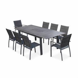 alice 39 s garden salon de jardin chicago 8 places table rallonge extensible 175 245cm alu gris. Black Bedroom Furniture Sets. Home Design Ideas
