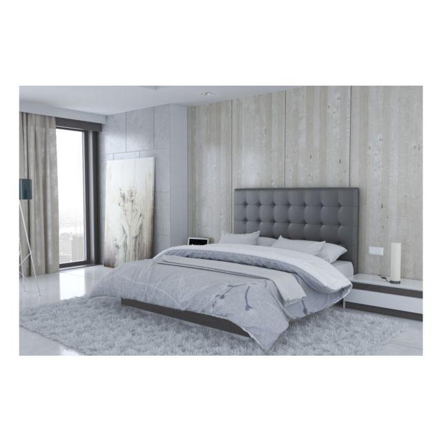 c556b999db9722 UsineStreet - Tête de lit en simili cuir gris 180 cm - Milan - pas ...